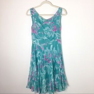 Anthropologie odille silk dress turquoise size 4